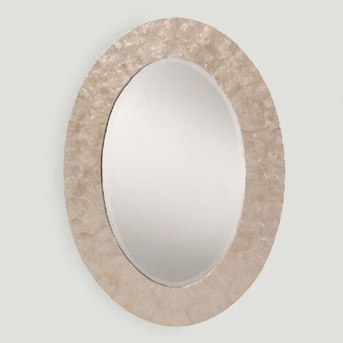 White Mother of Pearl Oval Mirror