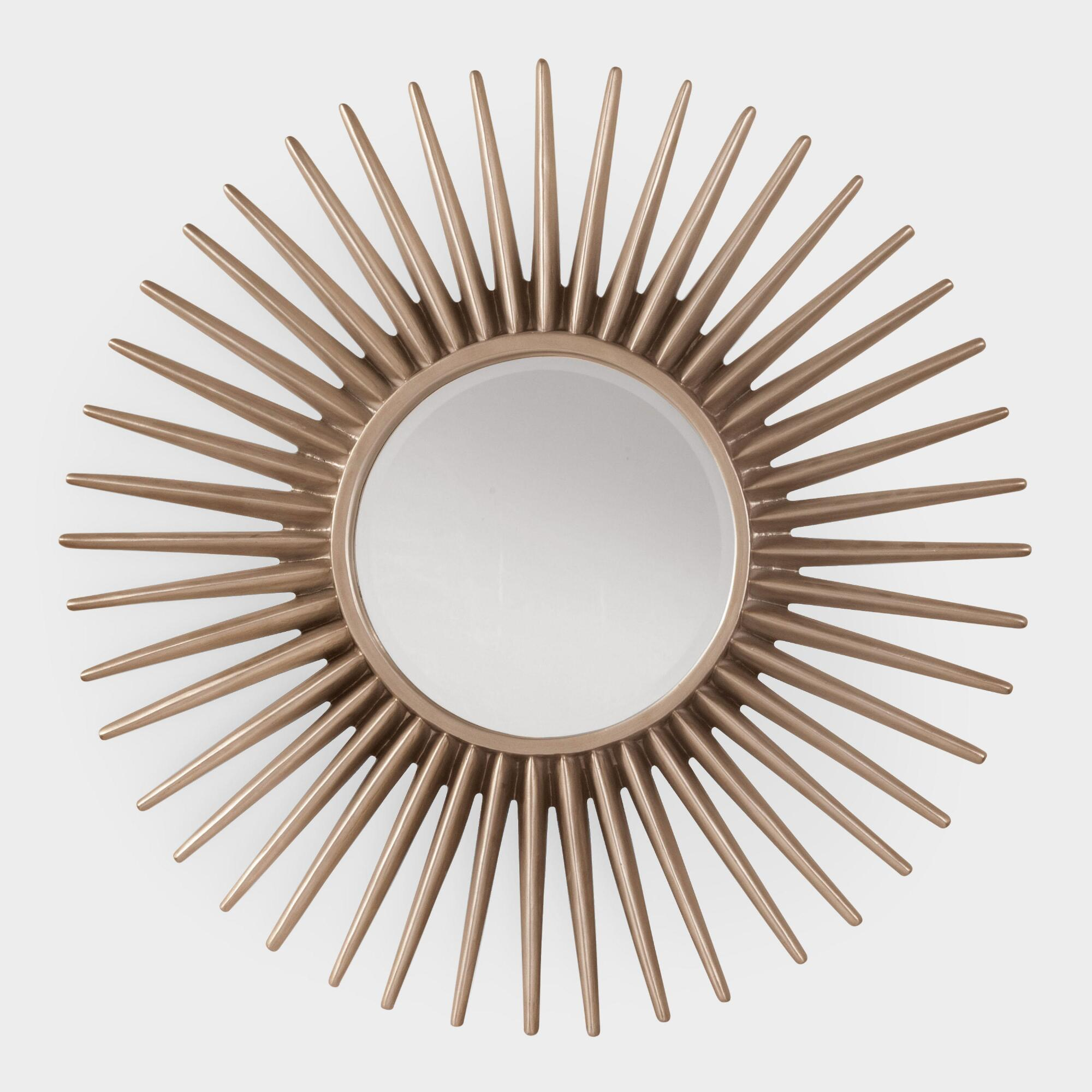 Silver metal sun round mirror world market for Round mirror