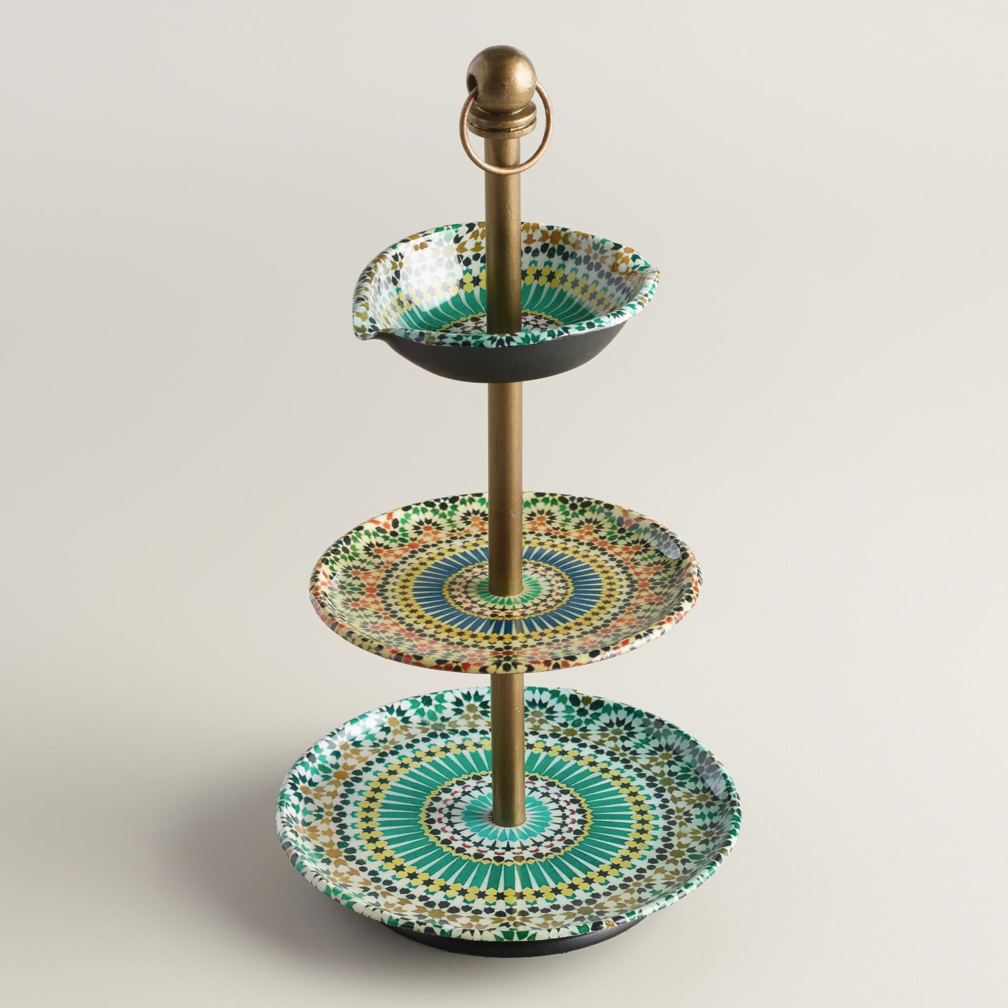 multicolor mosaic enameled three tiered jewelry stand. Black Bedroom Furniture Sets. Home Design Ideas
