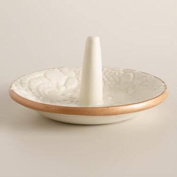 Small White Lace Ceramic Ring Holder