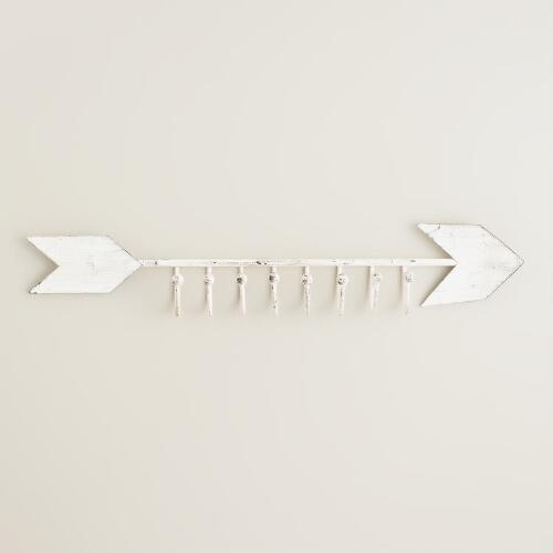 White Arrow Wall Hooks Jewelry Holder