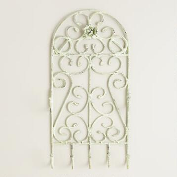 Green Scroll Wall Jewelry Holder with Hooks
