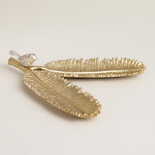 Gold Bird and Feathers Jewelry Holder
