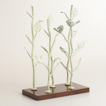 Green Patina Tree and Bird Jewelry Stand