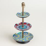 Blue and Red Enamel 3-Tier Jewelry Stand