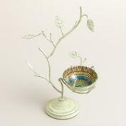 Tree with Enamel Bowl Jewelry Stand