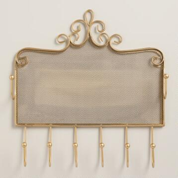 Gold Wall Jewelry Holder with Hooks