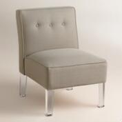 Textured Woven Randen Upholstered Chair - Acrylic Legs