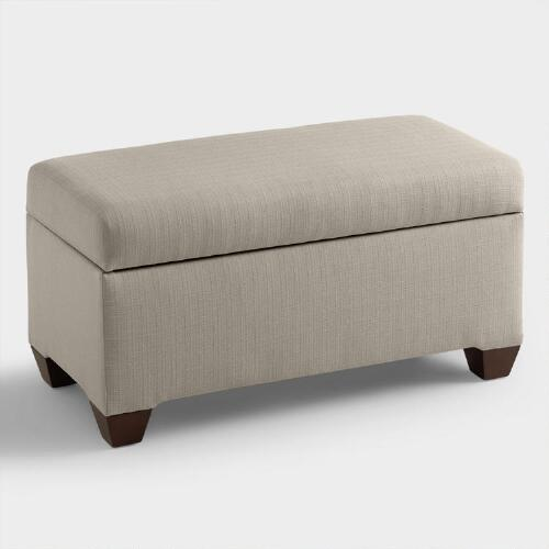 Textured Woven Pembroke Upholstered Storage Bench