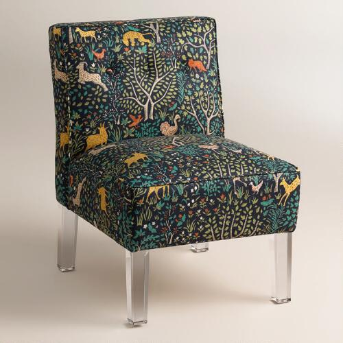 Randen Upholstered Chair in Multicolor Prints - Acrylic Legs