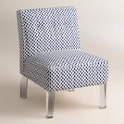 Randen Upholstered Chair in Blue Prints - Acrylic Legs
