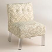 Randen Upholstered Chair in Neutral Prints - Acrylic Legs