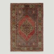 3.5'x5.3' Vintage Large Diamond Medallion Turkish Area Rug