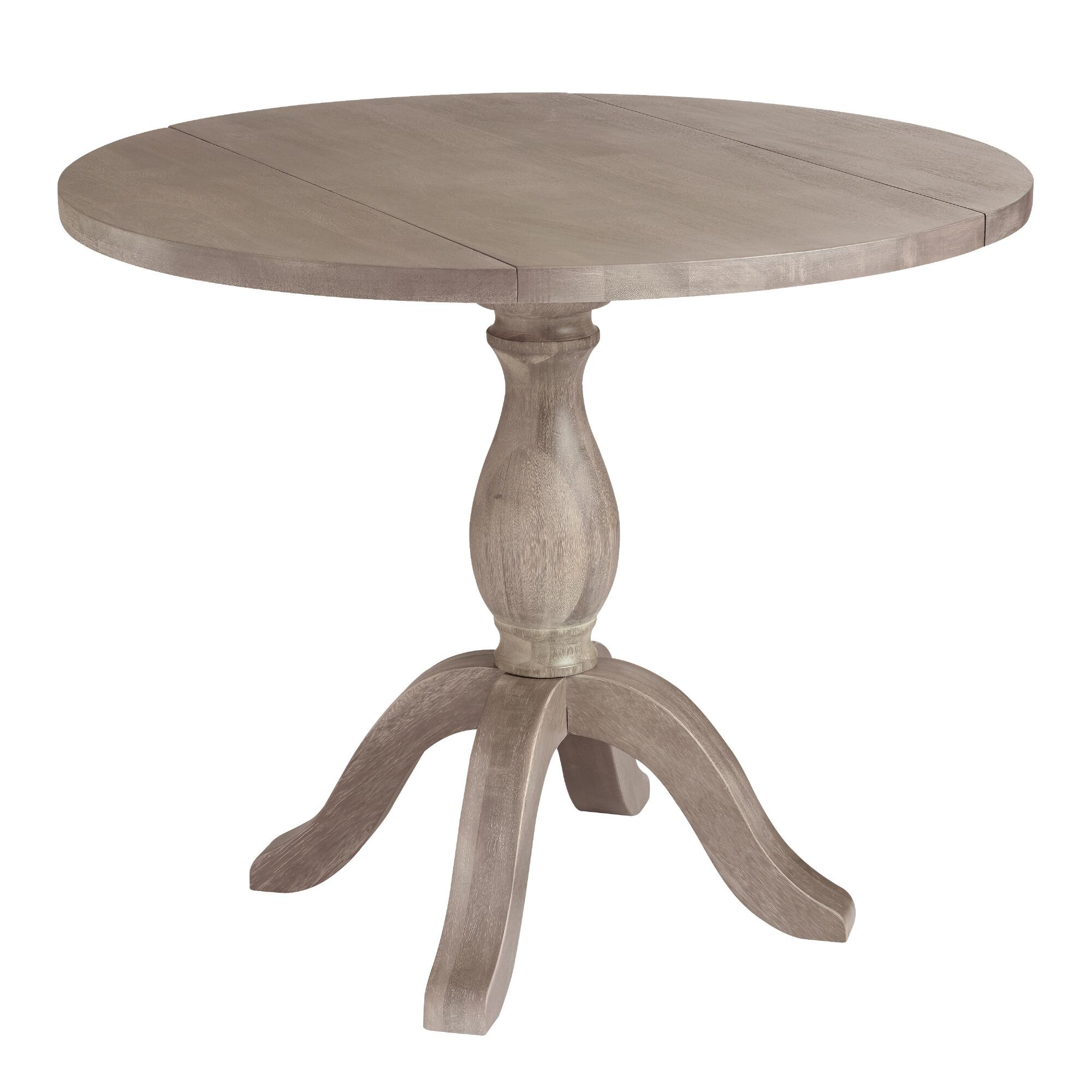 Round Weathered Gray Wood Jozy Drop Leaf Table World Market