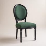 Green Linen Paige Round-Back Black Frame Chairs, Set of 2