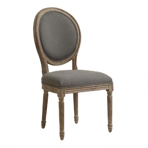 Charcoal Linen Paige Round-Back Dining Chairs, Set of 2