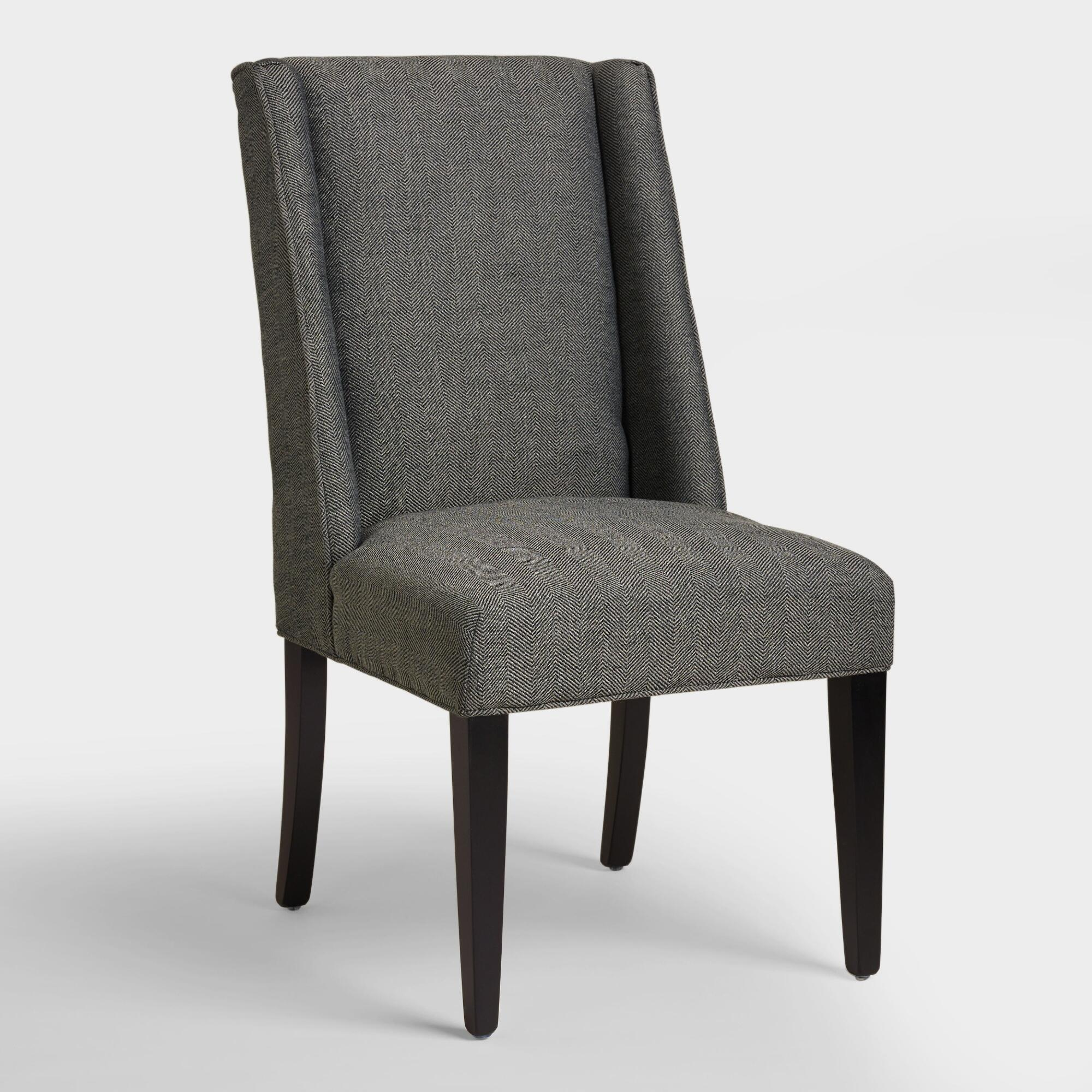 Charcoal herringbone lawford dining chairs world market for Dining room sofa seating