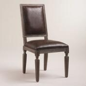 Brown Bonded Leather Curtis Dining Chairs, Set of 2