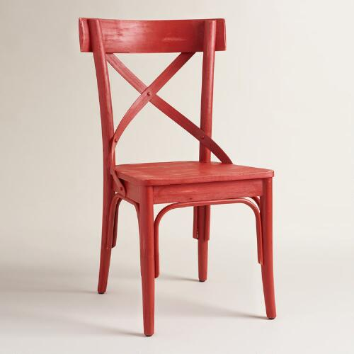 Red French Bistro Dining Chairs, Set of 2