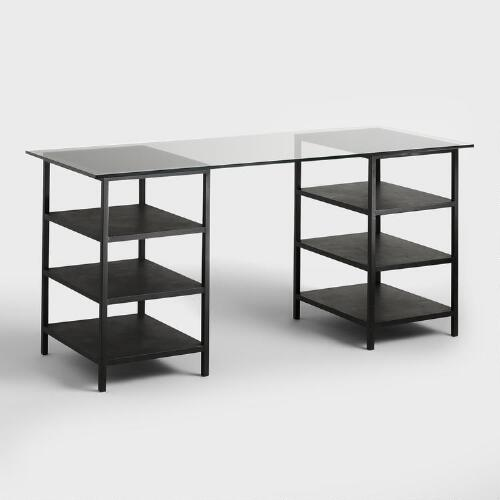 Glass Top and Metal Shelf Colton Mix & Match Desk