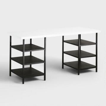 White Lacquer and Metal Shelf Colton Mix & Match Desk