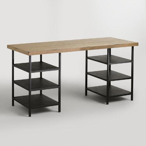 Natural Wood and Metal Shelf Colton Mix & Match Desk