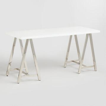 White Lacquer and Chrome Colton Mix & Match Desk