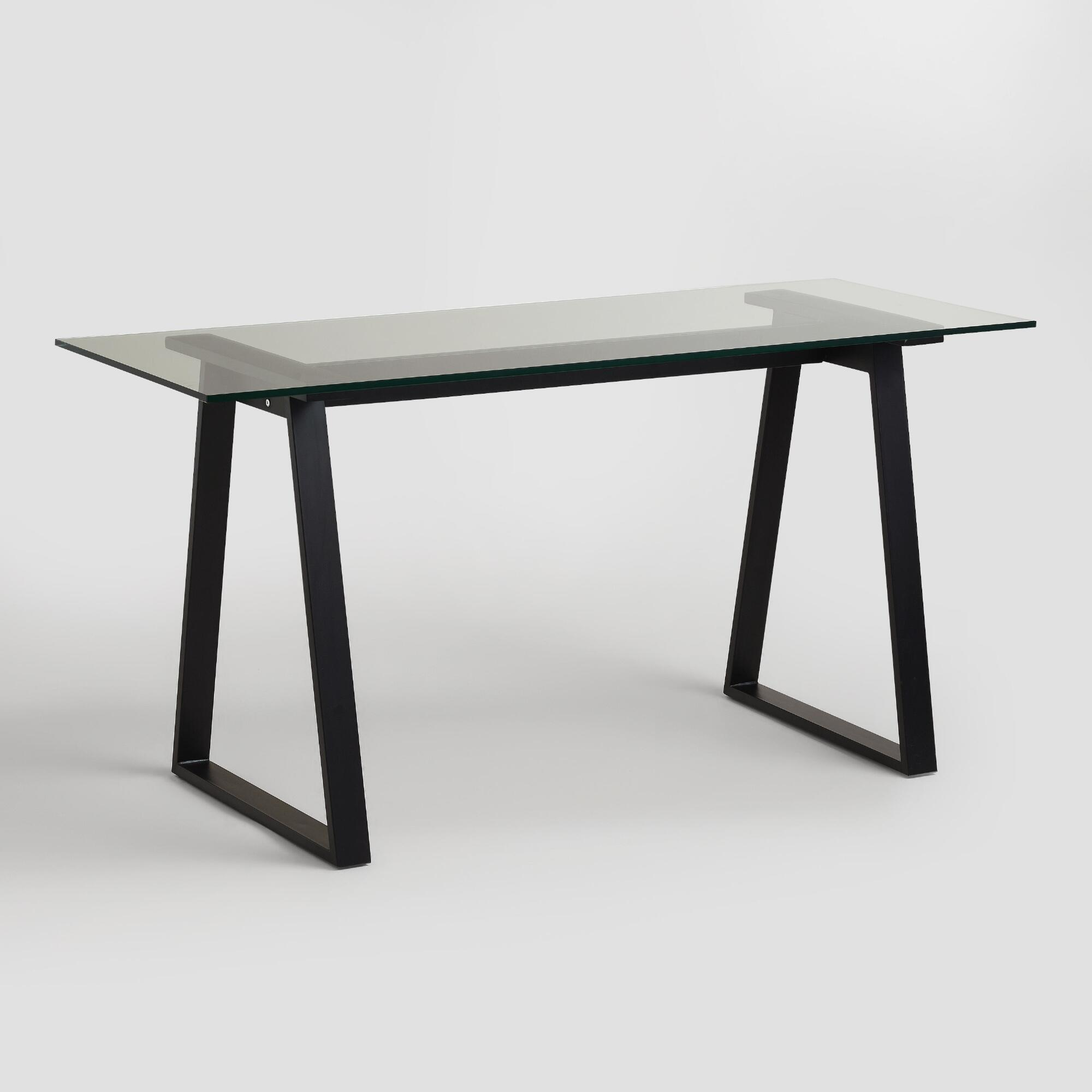 Glass and blackened metal colton mix match desk world market - Metal and glass desks ...