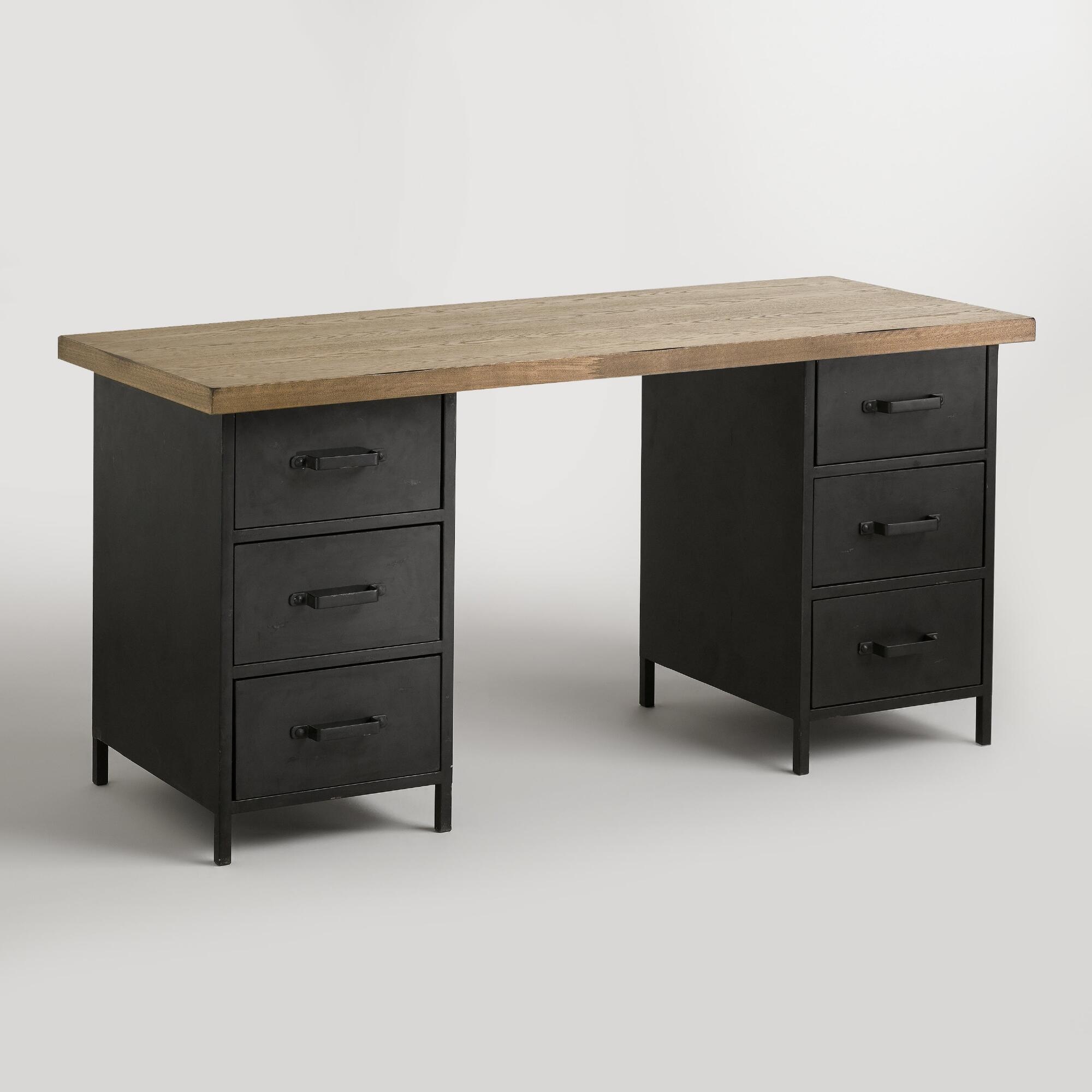 Natural wood and metal drawer colton mix match desk for Metal desk with wood top