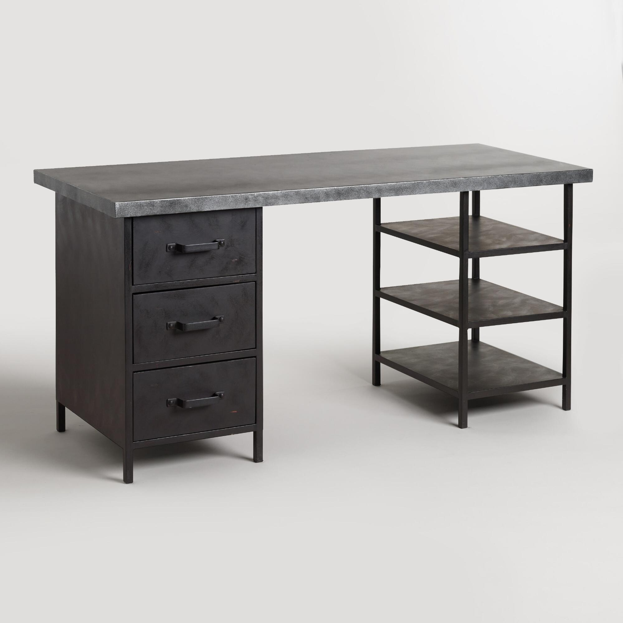 metal top colton mix match desk with shelf and drawers. Black Bedroom Furniture Sets. Home Design Ideas