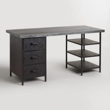 Metal Top Colton Mix & Match Desk with Shelf and Drawers