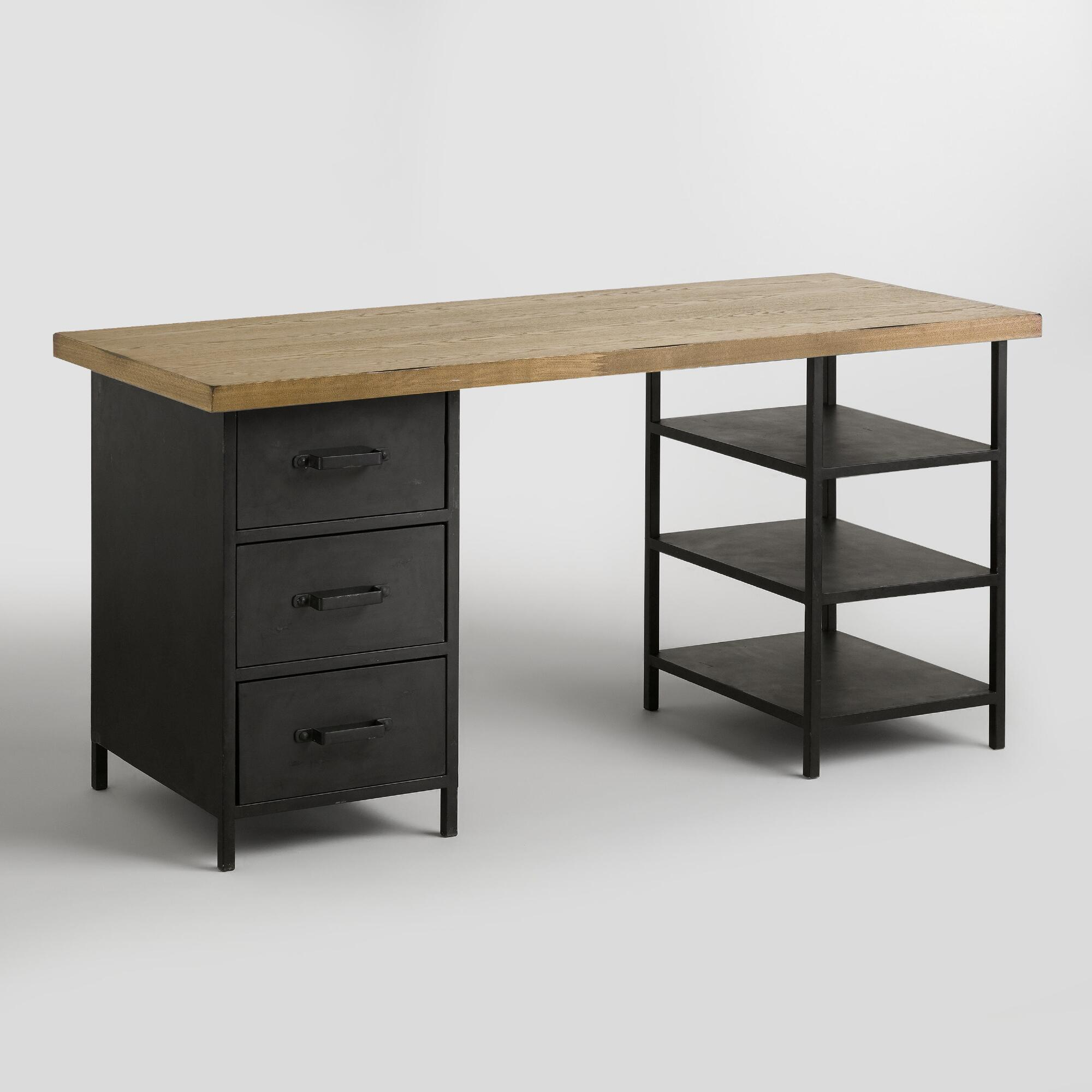 wood top colton mix match desk with shelf and drawers world market