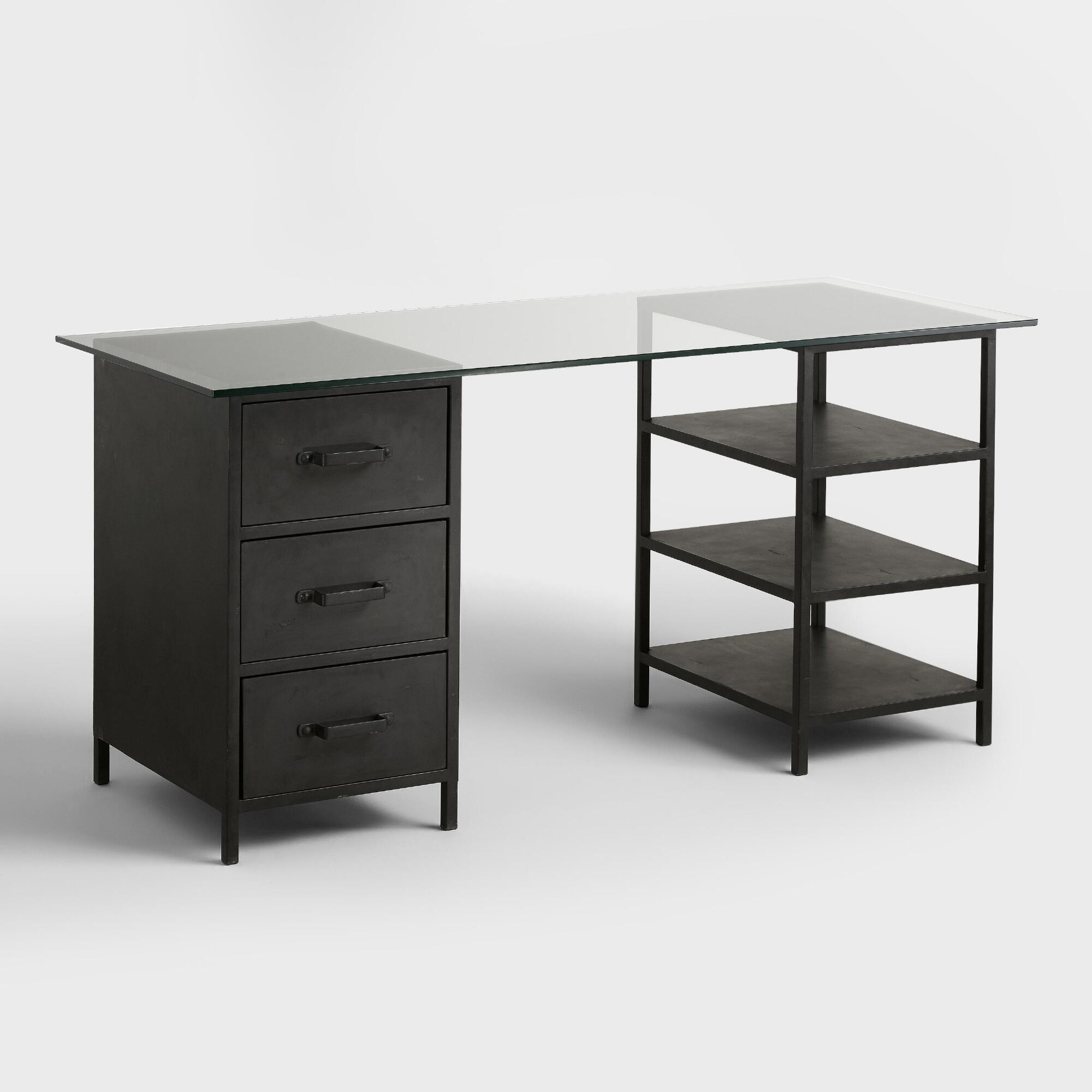glass top colton mix match desk with shelf and drawers. Black Bedroom Furniture Sets. Home Design Ideas