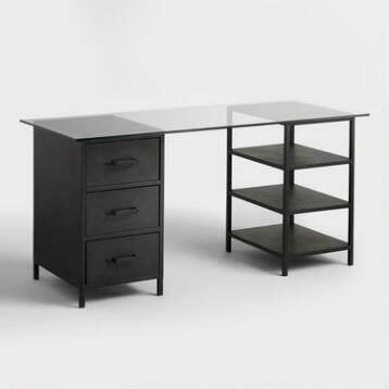 Glass Top Colton Mix & Match Desk with Shelf and Drawers