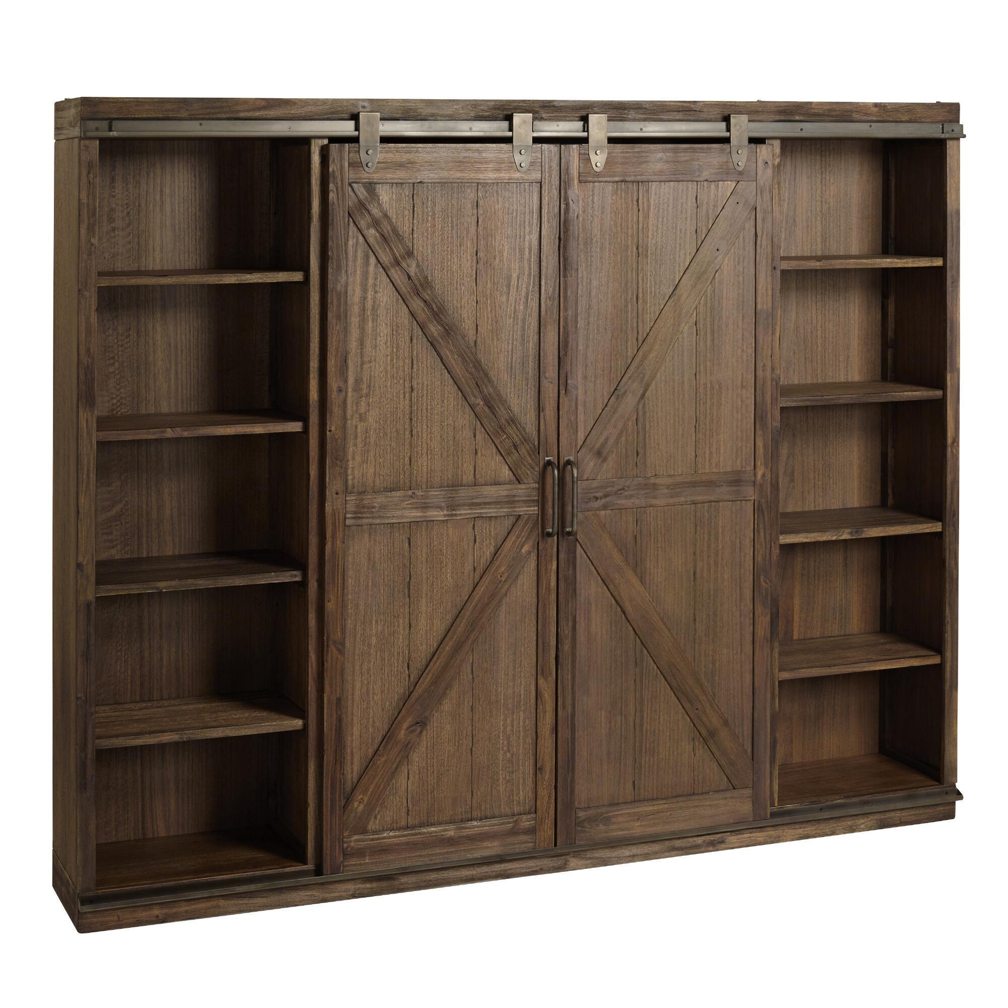 White Farmhouse Sliding Door Cabinet: Wood Farmhouse Barn Door Bookcase
