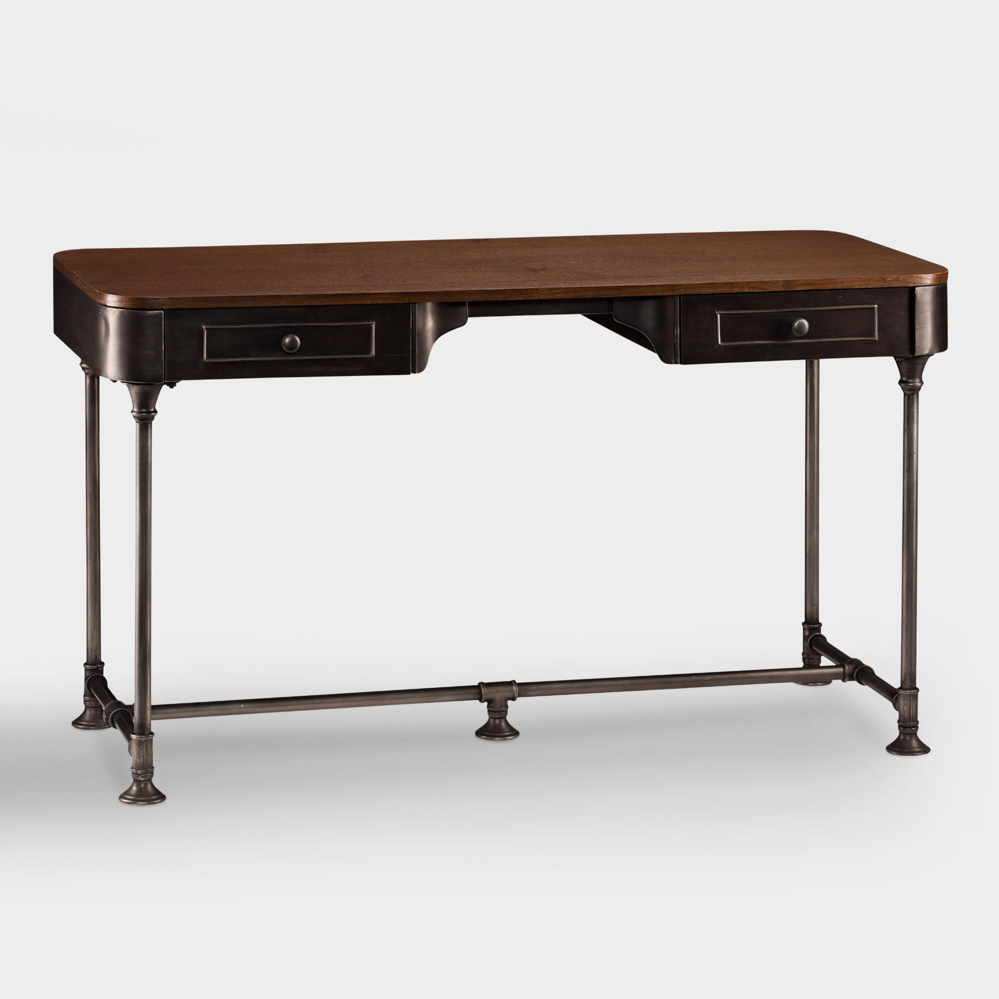 Wood and metal industrial style desk world market for Metal desk with wood top