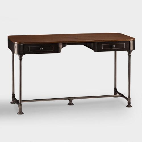 Wood and Metal Industrial-Style Desk