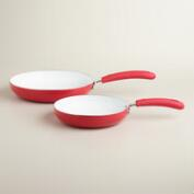 Red Nonstick Ceramic Skillets, 2-Pack