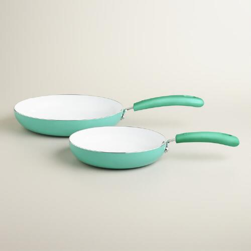 Aqua Nonstick Ceramic Skillets, 2-Pack