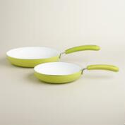 Green Nonstick Ceramic Skillets, 2-Pack