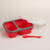 Medium Red Collapsible Silicone Lunch Box