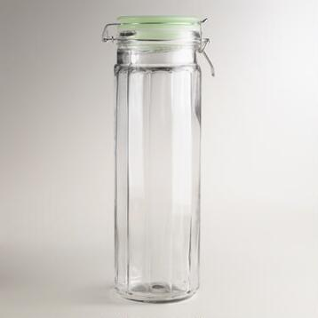 Extra-Large Glass Clamp Jars with Jadeite Lids, Set of 4