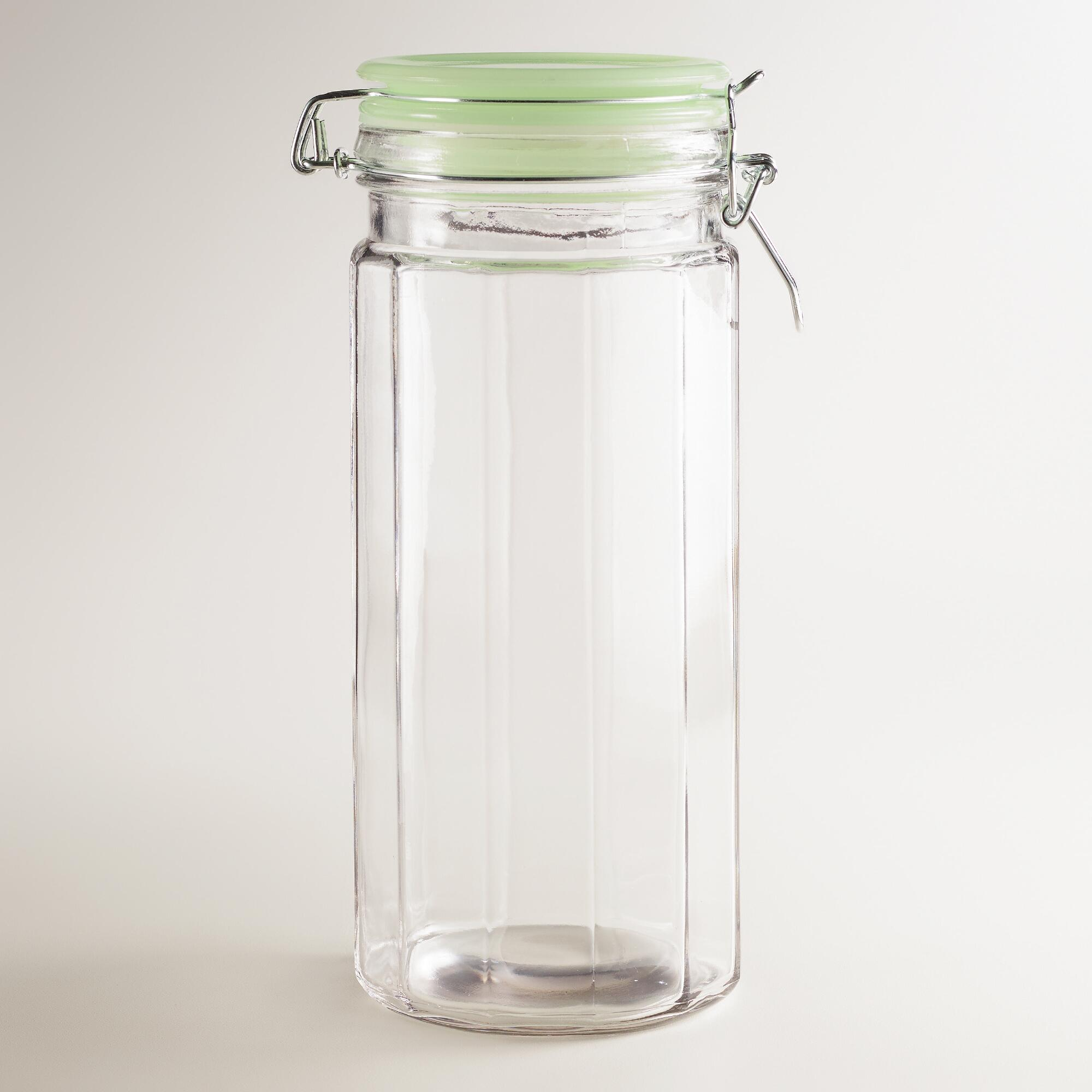 Large Glass Clamp Jars With Jadeite Lids Set Of 4 World