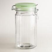 Medium Glass Clamp Jars with Jadeite Lids, Set of 4