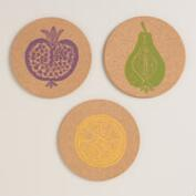 Harvest Fruit Stamped Cork Trivets, Set of 3