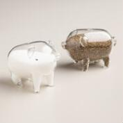 Glass Pig Salt and Pepper Shakers, Set of 2