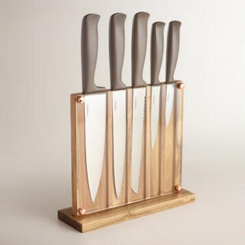 Stainless Steel 5-Piece Knife Set with Wood Storage Block