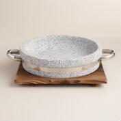 Granite Stone Grill with Wood Trivet