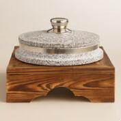 Granite Stone Pot with Wood Stand