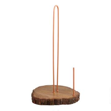 Copper and Wood Paper Towel Holder